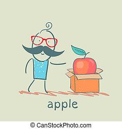caixa, maçã, abre, homem