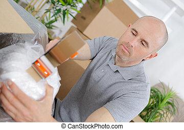 caixa, macho, cima, mão, embalagem, fim, papelão