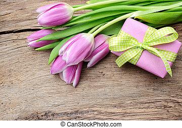 caixa, madeira, antigas, presente, tulips