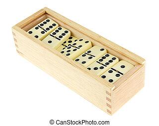 caixa madeira, domino