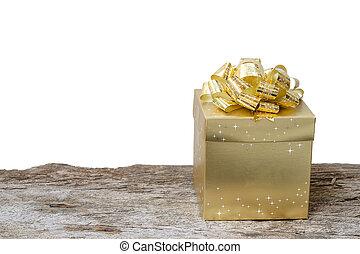 caixa, madeira, fundo, Ouro