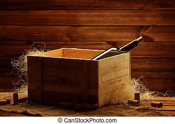 caixa, madeira, interior, garrafa, vinho
