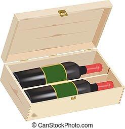 caixa madeira, presente, vinho