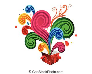 caixa, magia, coloridos, abstratos, ilustração, vetorial