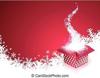 caixa, magia, snowflakes, presente, ilustração, vetorial, feliz, feriado, natal
