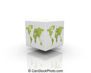 caixa, mapa, mundo
