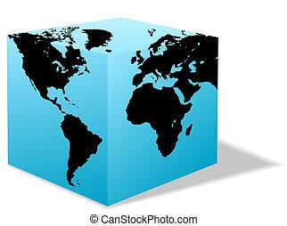 caixa, mapa, quadrado, globo, áfrica, américa, terra, europa