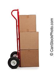 caixa, marrom, adesivo, frágil, em movimento, branca, papelão