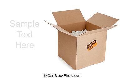 caixa, marrom, em movimento, ondulado, branca, papelão