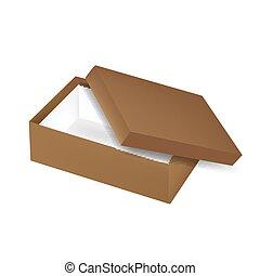 caixa, marrom, giga, vista superior, cobertura, isolado, embalagem, experiência., vetorial, sapato, modelo, pronto, branca, packaging:, abertos, vazio, design.