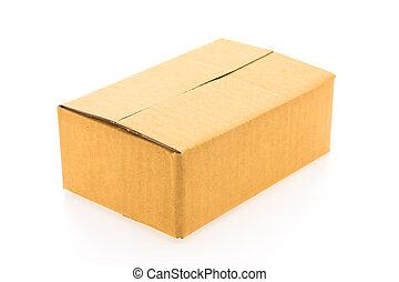 caixa, marrom, isolado