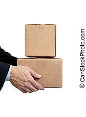 caixa, marrom, negócio, em movimento, segurando, ondulado, branca, papelão, homem