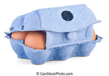 caixa, marrom, ovos, seis, fechado