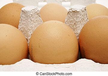 caixa, marrom, ovos, seis