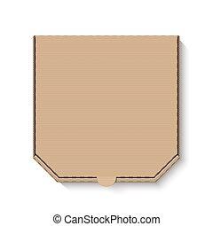 caixa, marrom, papelão, em branco, pizza