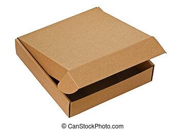 caixa, marrom, pizza