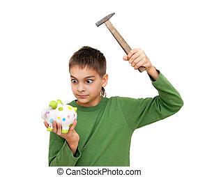 caixa, menino, adolescente, dinheiro, quebrar, piggy
