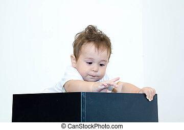 caixa, menino, criança, jovem, peeking, fundo, branco