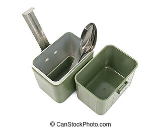 caixa, militar, almoço
