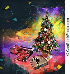 caixa, mini, presente, árvore, algum, quadro, natal