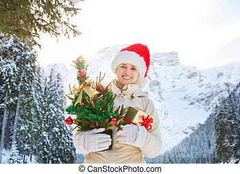 caixa, montanhas, mulher, presente, árvore, frente, natal