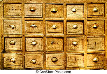 caixa, muitos, madeira, gaveta