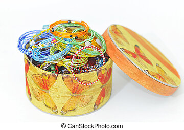 caixa, muitos, moda, pulseiras, coloridos