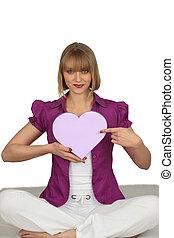 caixa, mulher,  heart-shaped, segurando
