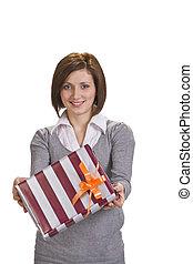 caixa, mulher, oferecendo, presente
