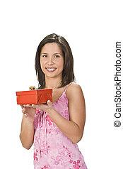 caixa, mulher, presente