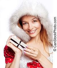 caixa, mulher, presente, jovem, natal, feliz