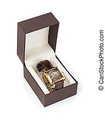 caixa, mulher, relógio, luxo