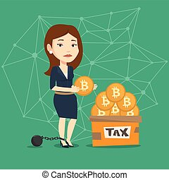 caixa, mulher, taxes., bitcoin, pôr, moeda