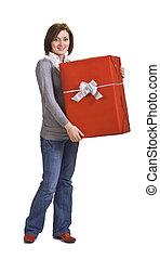 caixa, mulher, vermelho, presente