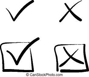 caixa, não, crucifixos, sinais, sim, carrapato