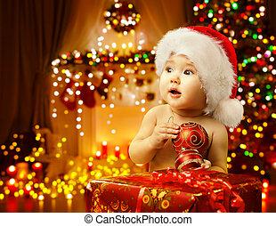 caixa, Natal, PRESENTE, abertura, presente, chapéu,  santa, criança, bebê, Feliz,  xmas, criança