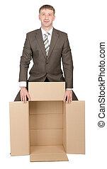 caixa, negócio, segurando, vazio, homem
