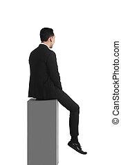 caixa, negócio, sentando, triste, asiático, sentimento, homem