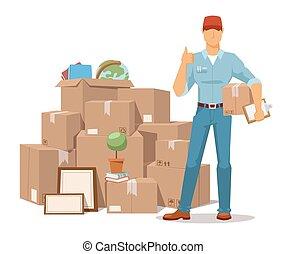 caixa, ok, serviço, movimento, ilustração, mão, vetorial, ...