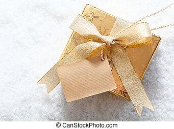 caixa, ouro, presente, neve, tag, em branco