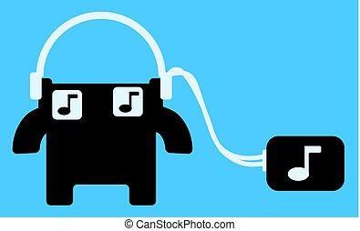 caixa, ouvinte, música, caricatura