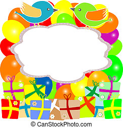 caixa, pássaro, presente, valentine, flores, cartão