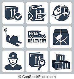 caixa, pacote, localizando, paperplanes, globo, ícones,...