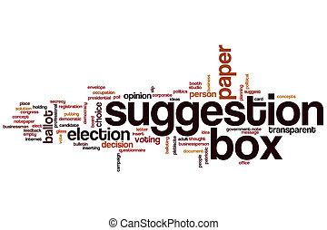 caixa, palavra, sugestão, nuvem
