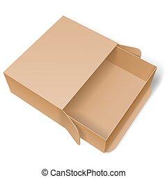 caixa, papelão, aberta