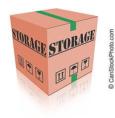 caixa, papelão, armazenamento