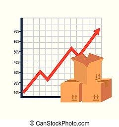 caixa papelão, caixas, estatísticas, cima seta