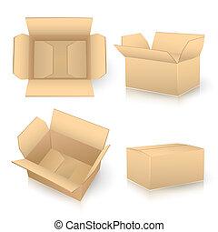 caixa papelão, caixas, jogo, branca