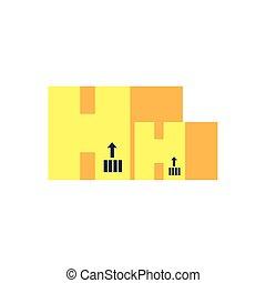 caixa papelão, caixas, jogo, isolado, ícone
