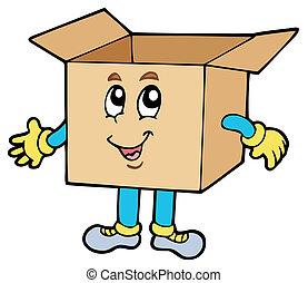 caixa, papelão, caricatura